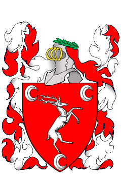 Gules, a stag rampant to sinister between three decrescents argent.