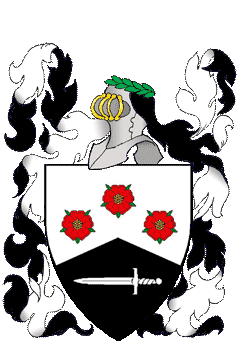 Quarterly sable and gules, in bend two oak leaves within a bordure argent.